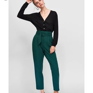 Zara green buckle pants